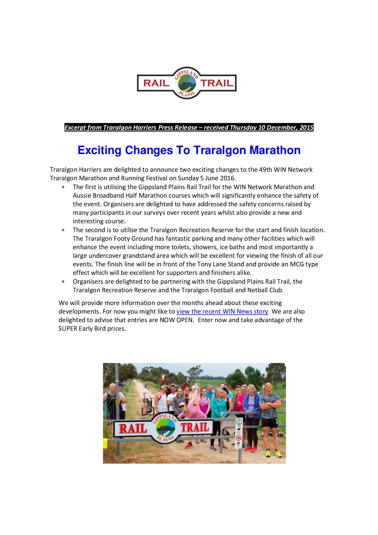Excerpt from Traralgon Harriers Press Release 10 December 2015 1