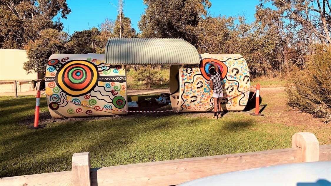 Gunnai artist Ronald Edwards Pepper adds colour to rail trail
